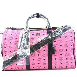 MCM Duffle Logo Pink Coated Canvas Travel Bag